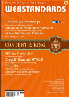 Titelseite des Webstandards-Magazin